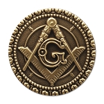 Square & Compass Round Antique Brass Masonic Lapel Pin - [1