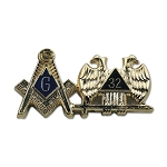 Square & Compass 32nd Degree Double Headed Eagle Gold & Blue Lapel Pin - 1 1/4
