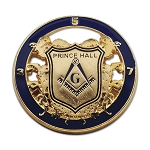 Prince Hall Shield Round Masonic Lapel Pin - [Blue & Gold][1 1/4