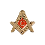Fellowcraft Square & Compass Masonic Lapel Pin - [Gold & Red][1'' Tall]