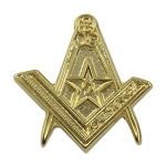 Square & Compass with Star Masonic Lapel Pin - [Gold][3/4'' Tall]
