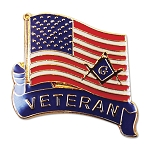 Veteran American Flag Square & Compass Masonic Lapel Pin - [Red & White][1'' Tall]