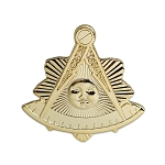Shining Past Master Masonic Lapel Pin - [Gold][1'' Tall]