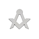 Simple Square & Compass Masonic Lapel Pin - [Silver][1'' Tall]