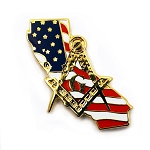 California Mason Square & Compass American Flag Masonic Lapel Pin - [Gold & Red][1'' Tall]