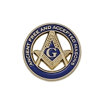 Ancient Free & Accepted Masons Square & Compass Round Masonic Lapel Pin - [Blue & Gold][1'' Diameter]
