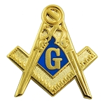 Traditional Square & Compass Masonic Lapel Pin - [Blue & Gold][1'' Tall]
