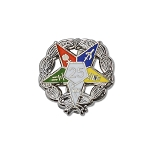 Order of the Eastern Star 25 Year Masonic Lapel Pin - [Silver & White][3/4'' Diameter]