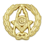 Wreathed Senior Deacon Sun Masonic Lapel Pin - [Gold][1 1/4'' Diameter]