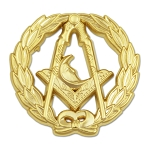 Wreathed Junior Deacon Moon Gold Masonic Lapel Pin - [1 1/4
