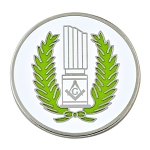 Wreathed Broken Column Masonic Lapel Pin - [White & Green][1 1/4'' Diameter]