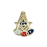Square & Compass Odd Fellows Masonic Lapel Pin - [Gold & Blue][1/2'' Tall]
