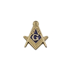 Square & Compass Masonic Lapel Pin - [Gold & Blue][5/8