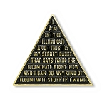 Illuminati Pyramid Lapel Pin - [Black & Gold][1'' Tall]
