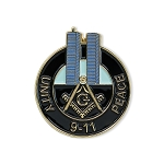 Square & Compass Twin Towers 9-11 Unity Peace Masonic Lapel Pin - [Black & Blue][1 1/8'' Tall]