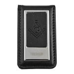 Black Leather Square & Compass Masonic Money Clip - [Silver][3'' Tall]