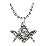 Square & Compass Silver Masonic Necklace - [1