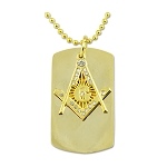 Dog Tag Square & Compass with Rhinestones Gold Masonic Necklace - [2
