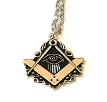 All Seeing Eye Square & Compass Silver Masonic Necklace - [2