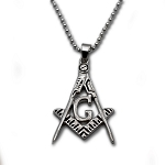 Square & Compass Silver Masonic Necklace - [2