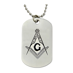 Engraved Square & Compass Silver Dog Tag Masonic Necklace - [2