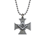 Knights Templar Cross Square & Compass Masonic Necklace - [Antique Silver][1'' Tall]