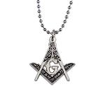 Square & Compass Masonic Necklace - [Black & Silver][1 1/4'' Tall]
