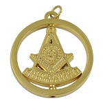 Past Master Round Masonic Pendant - [Gold][1 1/2'' Diameter]