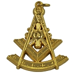 Past Master with Sun Masonic Pendant - [Gold][1 1/2
