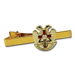32nd Degree Rose Croix Cross Scottish Rite Masonic Tie Clip - [Gold & Red][2 1/4'' Wide]