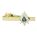 Working Tools Square & Compass Masonic Tie Clip - [Blue & White][2 1/4'' Wide]