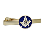 Square & Compass Masonic Tie Clip - [Blue & Gold][2 1/4'' Wide]