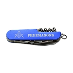 Square & Compass Masonic Folding Pocket Knife - [Blue & White]