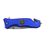 Virtus Iunxit Mors Non Separabit Square & Compass Masonic Folding Pocket Knife - [Blue & Gold]