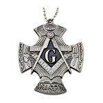 Square & Compass with Working Tools Masonic Knife Pendant - [Antique Silver]