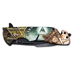 All Seeing Eye Square & Compass Masonic Folding Pocket Knife - [Brown & Green]