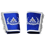 Past Master Embroidered Masonic Gauntlets - [Blue & Silver]