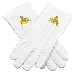 Blue & Yellow Square & Compass Masonic Embroidered Cotton Gloves - [White]