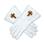 Eminent Commander White Leather Masonic Gloves