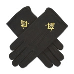 Square & Compass Masonic Embroidered Cotton Gloves - [Black]