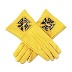 Knights Templar Yellow Leather Masonic Gloves