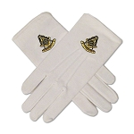 Past Master Masonic Embroidered Cotton Gloves - [White]