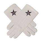 Order of the Eastern Star Hand Embroidered Cotton Masonic White Gloves