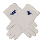 All Seeing Eye Masonic Embroidered Cotton Gloves - [White]