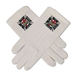 Knights Templar Masonic Embroidered Cotton Gloves - [White]