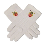 Shriner Hand Embroidered Cotton Masonic White Gloves