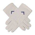 Worshipful Master's Square Hand Embroidered Cottton Masonic White Gloves
