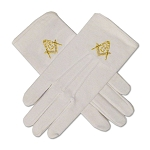 Gold Square & Compass Hand Embroidered Cotton Masonic White Gloves