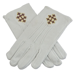 33rd Degree Patriarchal Cross Purple & Gold Embroidered Cotton Masonic White Gloves