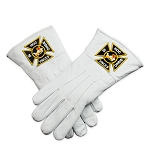 Knights Templar White Leather Masonic Gloves
